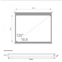 Vetítővászon fali 265 cm x 149 cm (120