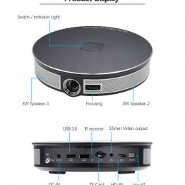 LUXCINE Z5000 Nagy Fényerejű Akkumulátoros 4K Smart Led Projektor 3D 2GB RAM WiFi BT